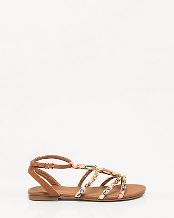 Leather-Like Jewelled Gladiator Sandal