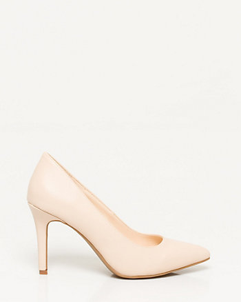 Leather-Like Pointy Toe Pump