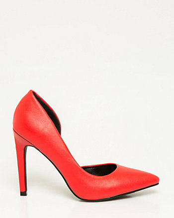 Leather-Like Half d'Orsay Pump