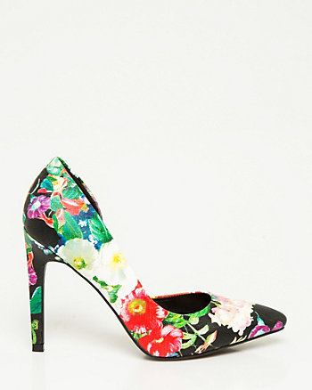 Floral Leather-Like Half d'Orsay Pump