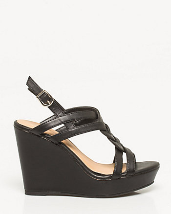 Faux Leather Braided Wedge Sandal