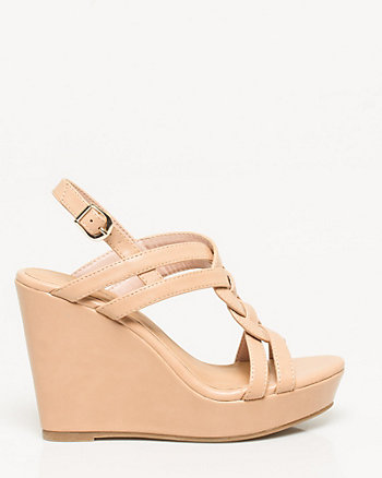 Leather-Like Braided Wedge Sandal