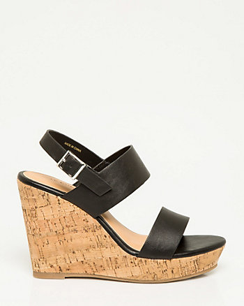 Leather-Like Double Band Wedge Sandal