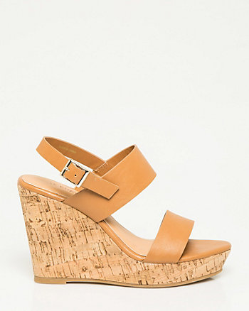 Faux Leather Double Band Wedge Sandal