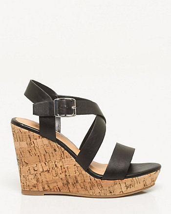 Faux Leather Criss-Cross Wedge