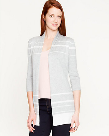 Stripe Viscose Blend Open-Front Cardigan