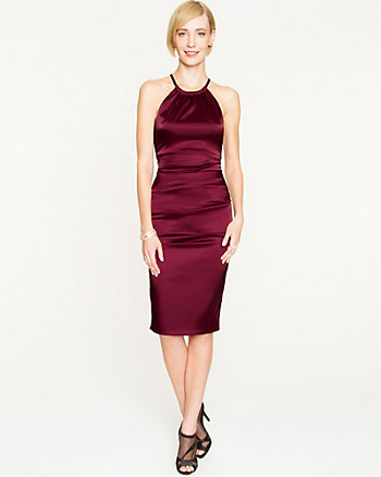 Satin Fitted Halter Dress