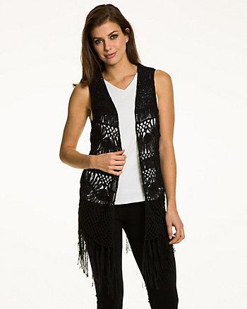 Crochet Open-Front Fringe Vest