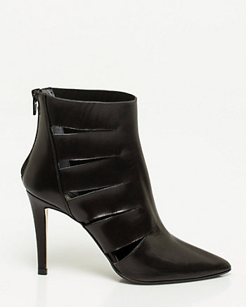 Italian-Made Leather Cutout Shootie