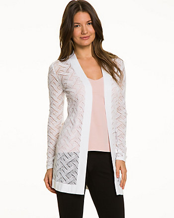 Cotton Blend Open-Front Cardigan