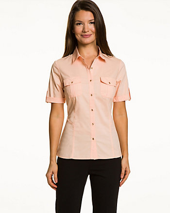 Stretch Poplin Short-Sleeve Blouse