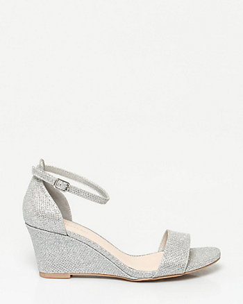 Glitter Mesh Open Toe Wedge