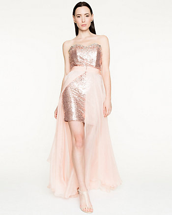 Sequin & Chiffon Strapless Gown
