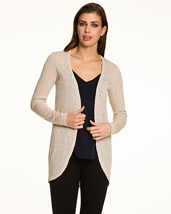 Slub Knit Open-Front Cardigan