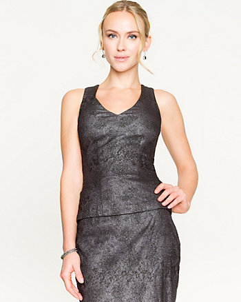 Metallic Jacquard V-Neck Tank