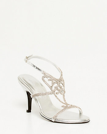 Leather-Like Rhinestone Sandal