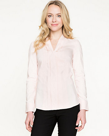 Stretch Poplin Pleated V-Neck Blouse