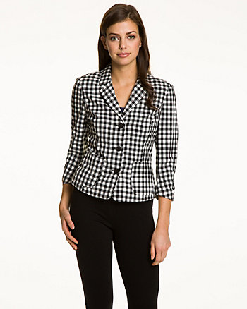 Gingham Notch Collar Blazer