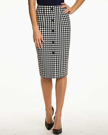 Gingham High Waist Midi Skirt