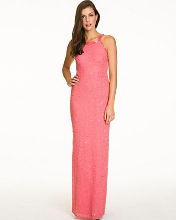 Allover Beaded Georgette Halter Gown