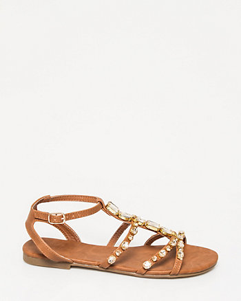Faux Leather Jewelled Gladiator Sandal