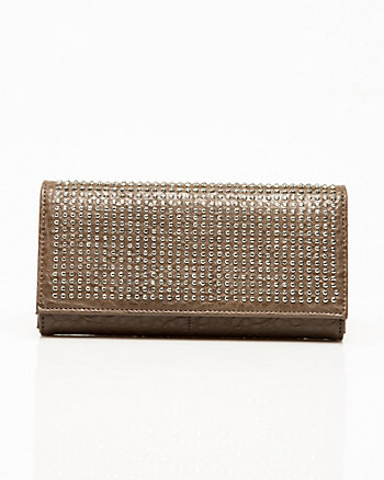 Studded Faux Leather Flapover Clutch