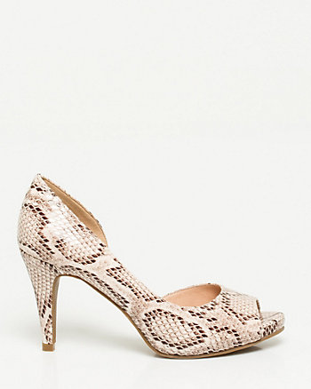 Snake Print Leather-Like Peep Toe Pump