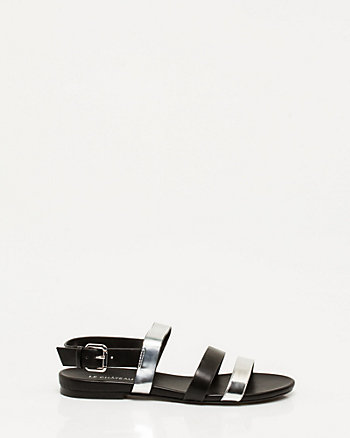 Metallic Leather-Like Sandal