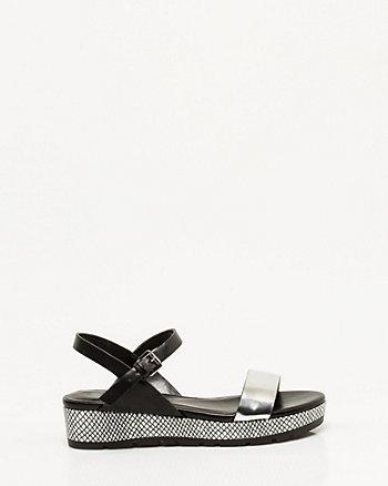 Metallic Faux Leather Platform Sandal