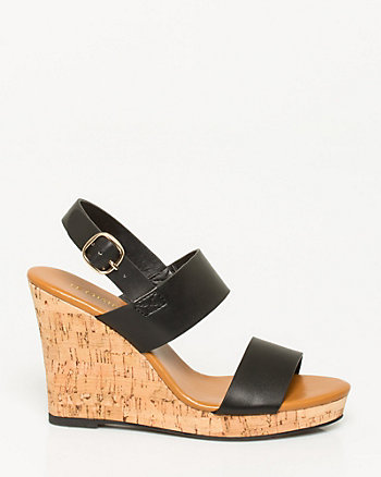 Faux Leather Wedge Slingback