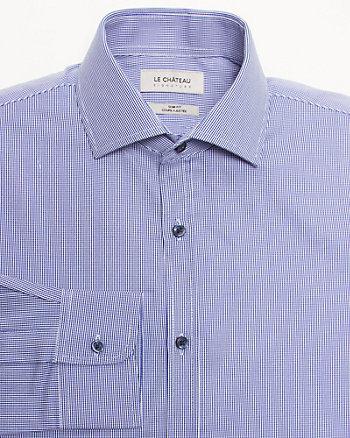Houndstooth Cotton Slim Fit Shirt
