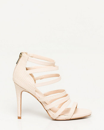 Faux Leather Snake Print Strappy Sandal