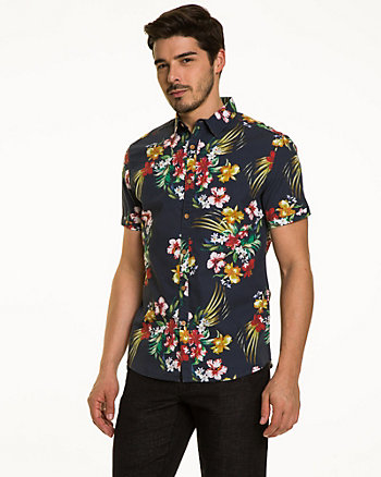 Hawaiian Print Cotton Slim Fit Shirt