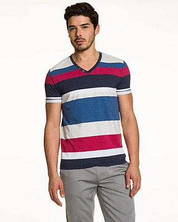 Stripe Cotton Blend V-Neck Top