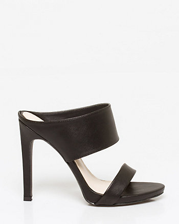 Saffiano Leather-Like Double Band Mule