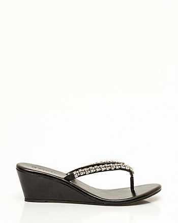 Metallic Leather-Like Wedge Sandal