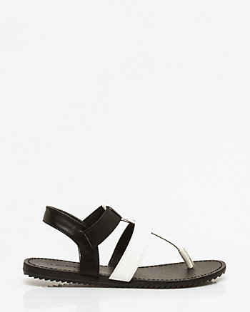 Faux Leather Gladiator Thong Sandal