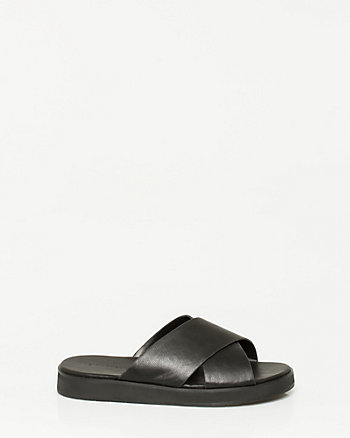 Faux Leather Criss-Cross Flatform Slide