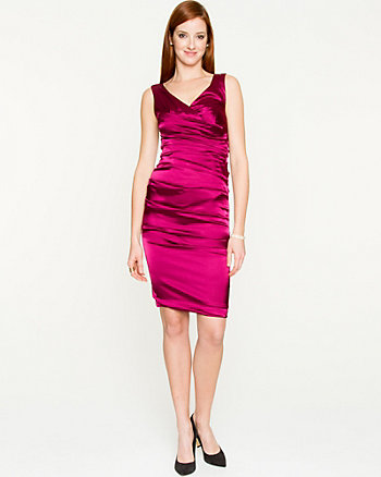 Ruched Satin V-Neck Dress