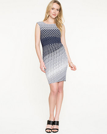 Diamond Print Knit Shift Dress