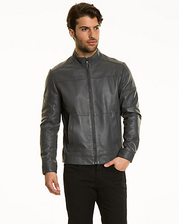 Leather Funnel Neck Moto Jacket