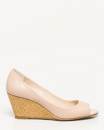 Faux Leather Peep Toe Wedge