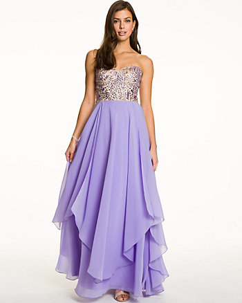 Embellished Chiffon Strapless Gown