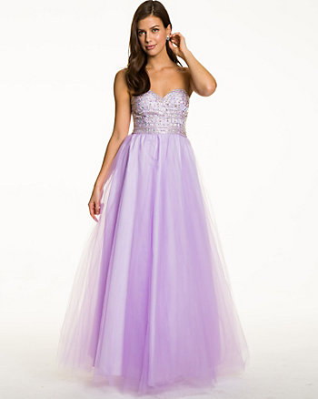 Jewel & Mesh Sweetheart Gown