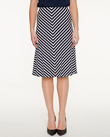 Stripe Jersey Knit Flared Skirt