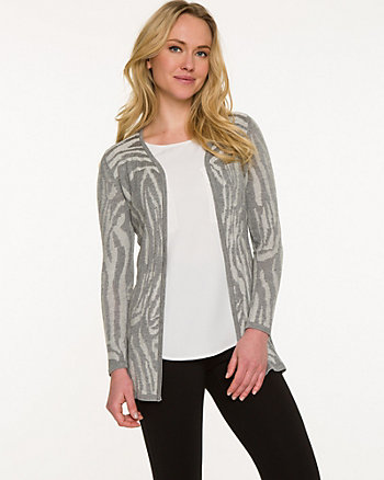 Zebra Print Knit Open-Front Cardigan
