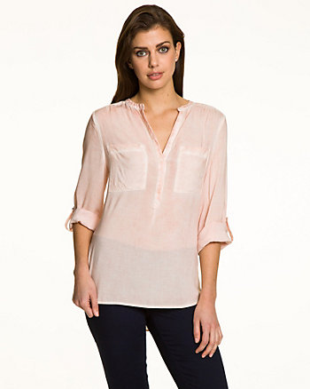 Challis V-Neck Roll-Up Sleeve Blouse