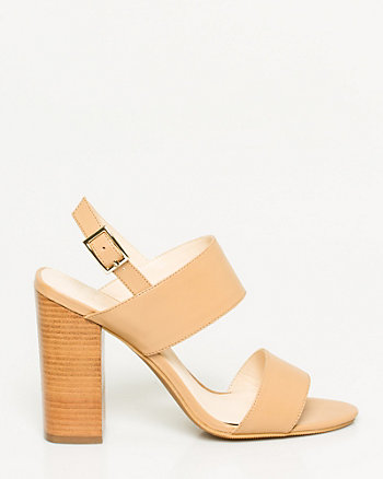 Faux Leather Slingback Double Band Sandal