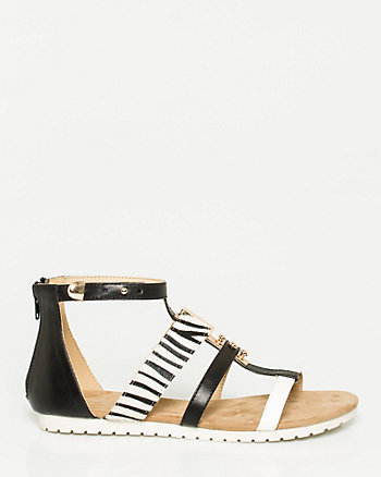 Printed Leather-Like Gladiator Sandal