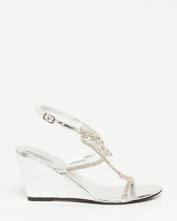 Leather-Like Rhinestone Wedge